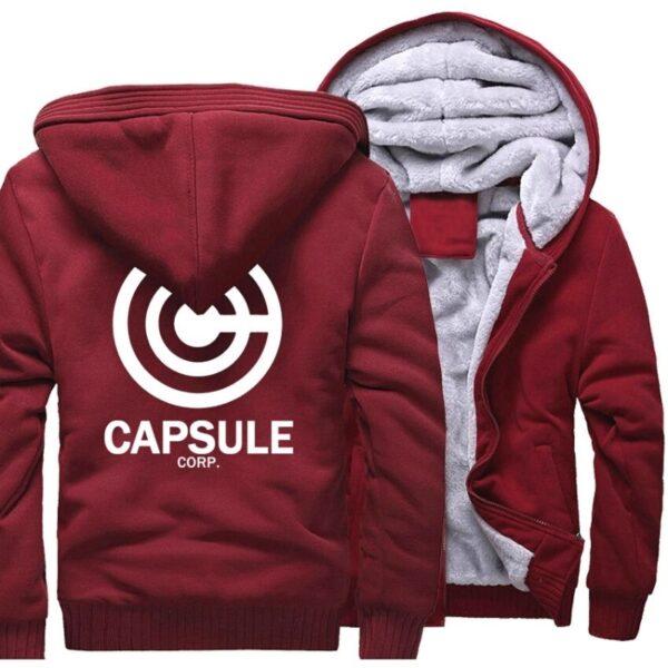 capsule corp trunks fleece red jacket