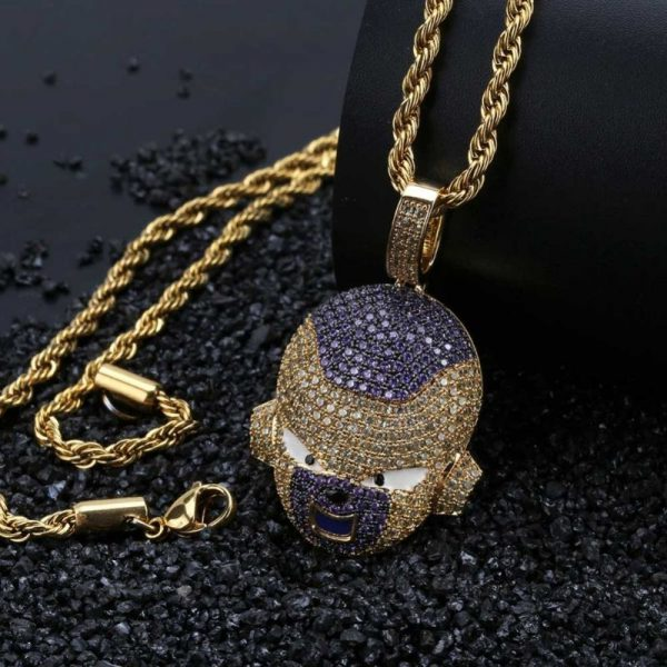 frieza iced out gold necklace 2
