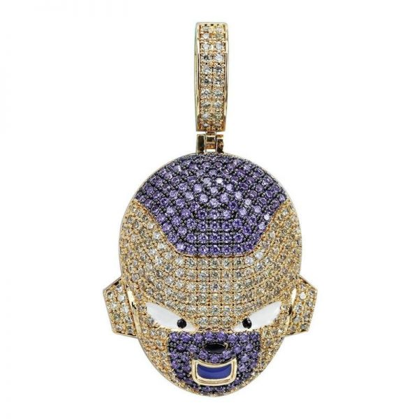 frieza iced out gold necklace