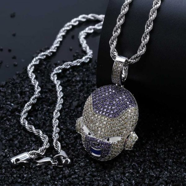 frieza iced out silver necklace 2