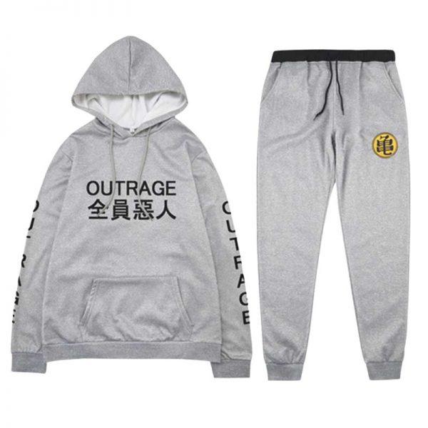 goku outrage streetwear grey tracksuit set 2