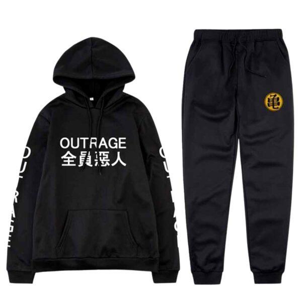 goku outrage streetwear black tracksuit set 2