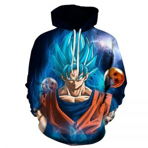 goku ssgss blue dragon balls hoodie