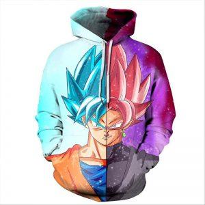 goku ssj blue vs goku black hoodie