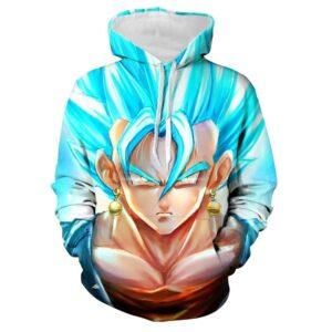 goku ssj blue wearing potara earrings hoodie