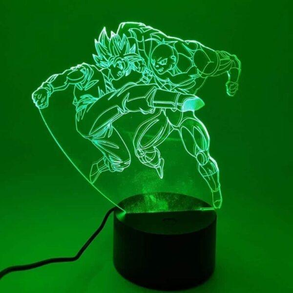goku ssj2 versus jiren fight rgb 3d illusion lamp green