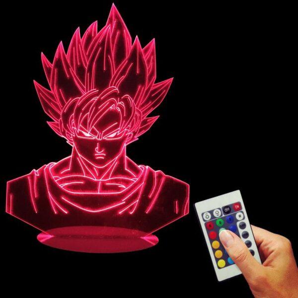goku super saiyan color changing rgb led lamp red