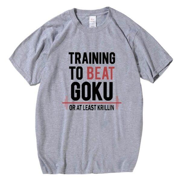 training to beat goku grey t shirt