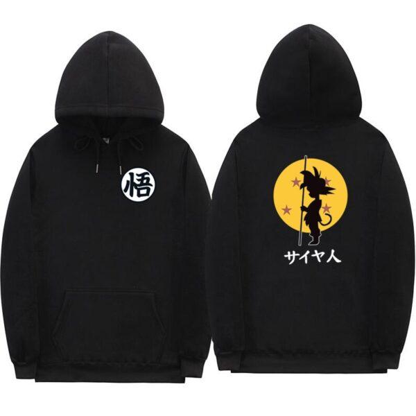 dragon ball goku kanji training black hoodie