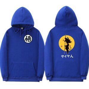 dragon ball goku kanji training blue hoodie