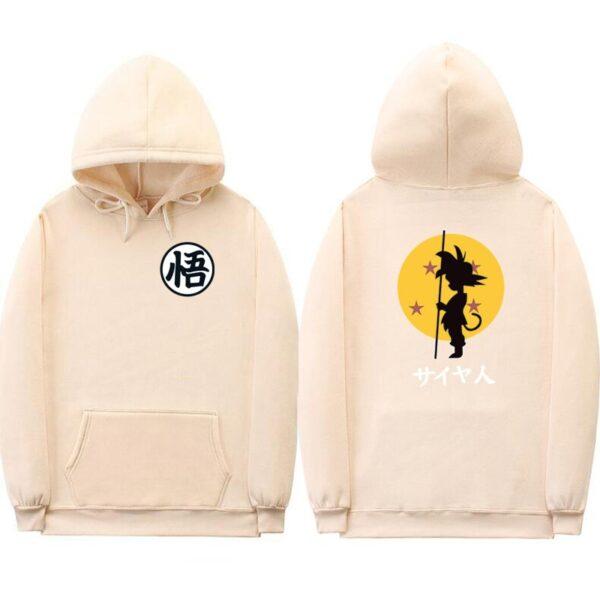 dragon ball goku kanji training cream hoodie