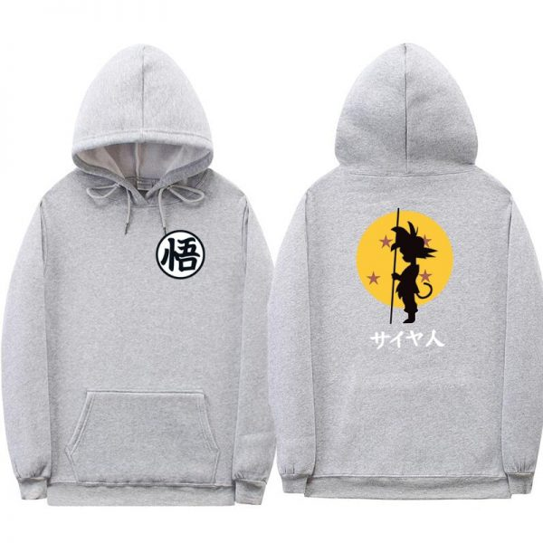 dragon ball goku kanji training gray hoodie