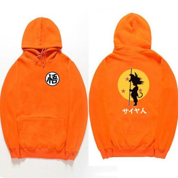 dragon ball goku kanji training orange hoodie