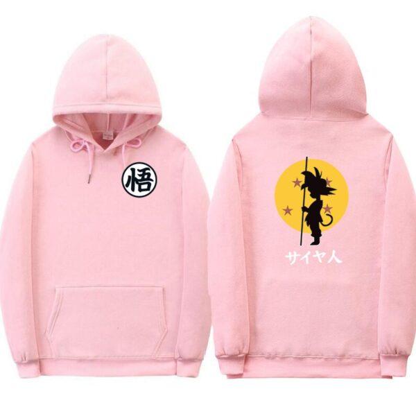 dragon ball goku kanji training pink hoodie
