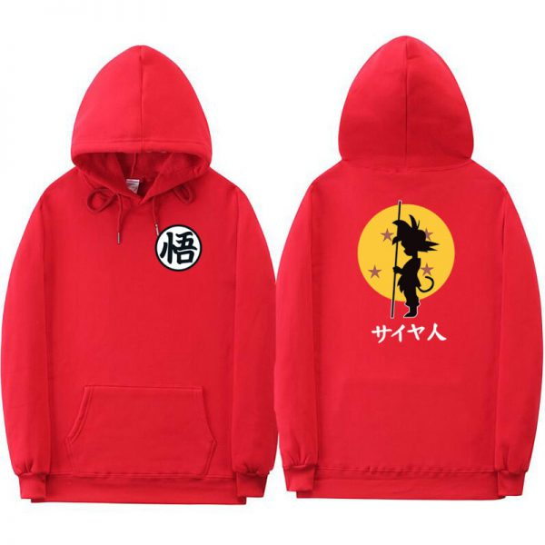dragon ball goku kanji training red hoodie