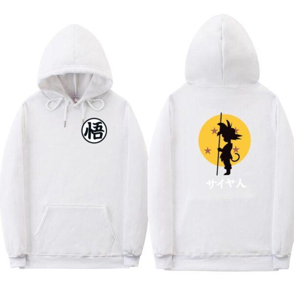dragon ball goku kanji training white hoodie