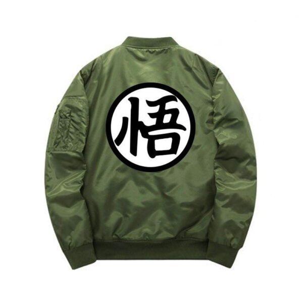 dragon ball z goku green khaki bomber jacket back