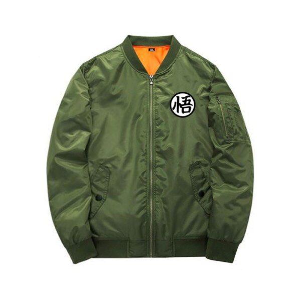 dragon ball z goku green khaki bomber jacket front