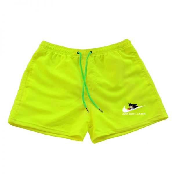 dragon ball z goku just do it later nike parody yellow shorts