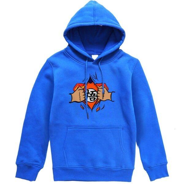 dragon ball z goku vs superman blue hoodie