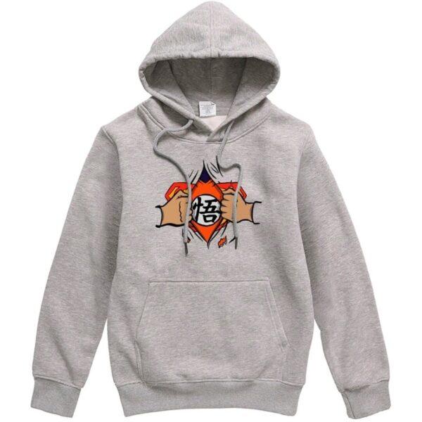 dragon ball z goku vs superman grey hoodie